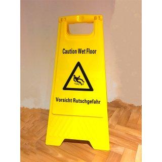 """CleanSV Hinweisschild 2 Sprachig """"Achtung Rutschgefahr - Caution Wet Floor"""" Warnschild Aufsteller gelb Kunststoff"""