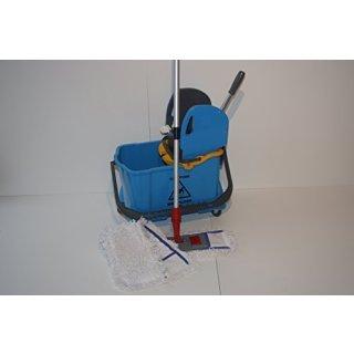 CleanSV© Wischset Nuvo 50 cm - Reinigungswagen mit Presse und 10 L. Inneneimer für Schmutzwasser, ein Mopset 50 cm:  3  x 50 cm Baumwollmops, 50 cm CleanSV Mophalter und Profi Teleskopstiehl