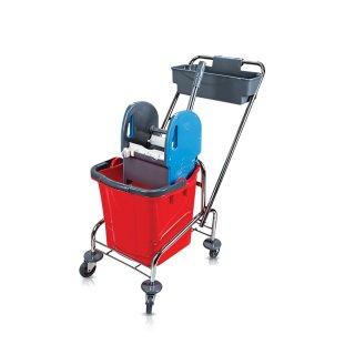 CleanSV Reinigungswagen Eineimerfahrwagen mit Deichselkorb 1 Eimer 20 Liter