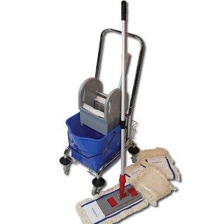 CleanSV© Wischset 50 cm - Reinigungswagen 1 Eimer, Chrom Putzwagen mit Presse, Mopp Set 50 cm: aus 3 Baumwollmopp / Wischmopp 50 cm , Mopphalter 50 cm und Telekopstiehl