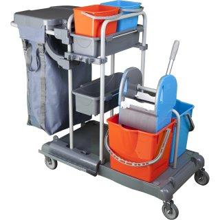 CleanSV® Tyson 4 Profi PE Reinigungswagen, mit Moppresse, 2  x 15 Liter Eimer, 2 x 6 Liter Eimer, 2 Ablagen, Müllsackhalter