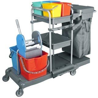 CleanSV® Tyson 6 Profi PE Reinigungswagen Systemwagen, 2 x 17 Liter Eimern, 4 x 5 Liter Eimer, 3 Ablagen, Müllsackhalter