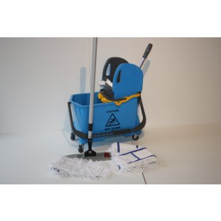 CleanSV® Wischset - Bodenwischer Vera blau  - Magic click - 50 cm, Putzeimer, Presse, 5 tlg Mopset