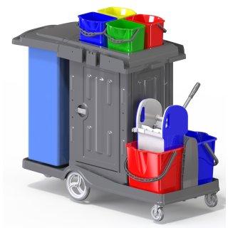 CleanSV® Reinigungswagen PE Kassel Secure mit abschließbarem Schrank, Müllsackhalter, 2 x 18 L Eimer, 4 x 5 L Eimer