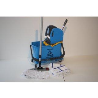 CleanSV Wischset - Bodenwischer Vera blau Magic click 40 cm, Putzeimer, Presse, Inneneimer und Mopset