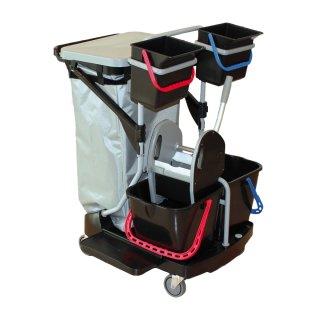 CleanSV® Reinigungswagen Revo1  black, New Line Moppresse, Müllsackhalter 120 Liter, 2 Eimer 15 liter und 2 Eimer 6 Liter, 4 Gummiräder