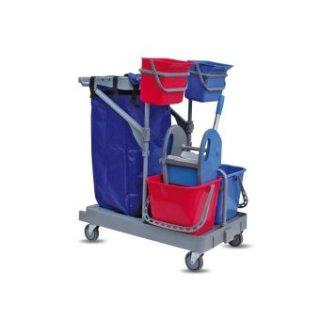 CleanSV® Reinigungswagen ServSt106, Putzwagen mit 2  x 6 liter Eimern, 2 x 15 Liter Eimer, Müllsackhalter (ohne Sack), Moppresse