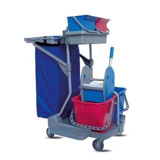 CleanSV® Reinigungswagen IP2 Profi, 2 x 15 Liter Eimer, 2 x 6 Liter Eimer, Profi Mop Presse strong, Ablage für den Mophalter, Müllsackhalter (ohne Sack)