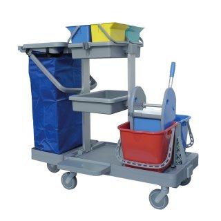 CleanSV® Reinigungswagen ServAnt-A4, Putzwagen mit 4  x 6 liter Eimern, 2 x 15 Liter Eimer, Mücllsackhalter (ohne Sack), Moppresse, 2 Ablagen