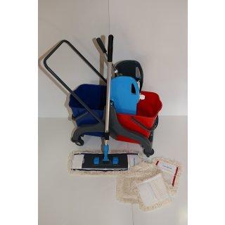 CleanSV® Wischset PE 50  - Reinigungswagen PE mit Presse, MopSet 50 cm: 3 Baumwollmop, Halter, Telskopstiehl
