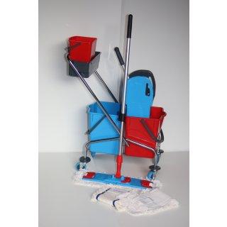 CleanSV® Wischset chrom Laschenmop 50 cm Lamo, Ablage + 5 L- Eimer, Reinigungswagen 2 x 18 Liter Eimer, Presse, Deichsel, 1 Laschenmop Halter Lamo, 3 x Laschenmop Baumwolle, Teleskopstiehl
