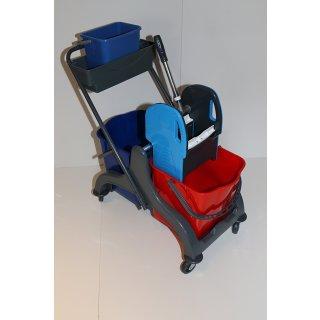 CleanSV© Aura2+ Reinigungswagen mit Ablage und 5 Liter Eimer, Wischwagen, Putzwagen aus Kunststoff, Profi Moppresse, 2 Eimer (rot / blau) und Deichsel, 4 Leichtlaufrollen