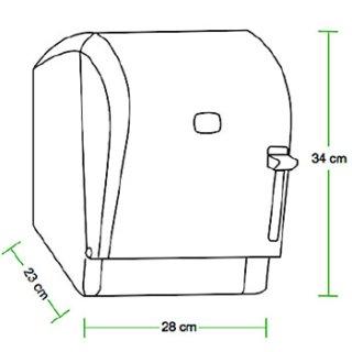 CleanSV® ViaRoll Weiss  Papierrollenspender aus Kunststoff mit Hebel Bedienung  für Papierrollen Breite max 21 cm, Durchmesser max 20 cm