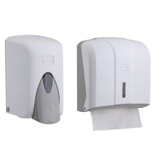 CleanSV® Via Set Weiss  Seifenspender 500 ml. und Papierhandtuchspender