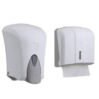 CleanSV® Via Set Weiss  Seifenspender 1000 ml. und Papierhandtuchspender