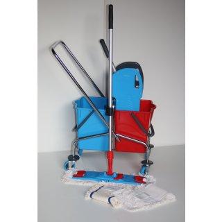 CleanSV® Wischset chrom Laschenmop 40 cm Lamo, Reinigungswagen 2 x 18 Liter Eimer, Presse, Deichsel, 1 Laschenmop Halter Lamo, 3 x Laschenmop Baumwolle, Teleskopstiehl