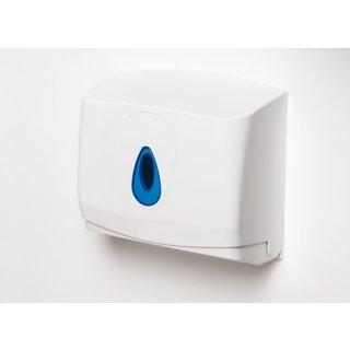 CleanSV® Brigmod Weiss mini Papierhandtuchspender aus Kunststoff mit blauem Sichtfenster