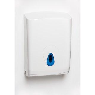 CleanSV® Brigmod Weiss groß Papierhandtuchspender aus Kunststoff mit blauem Sichtfenster