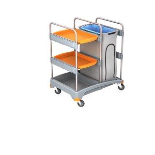 CleanSV Reinigungswagen Abfallwagen mit Ablage aus PE, 3 Ablagen, Müllsackhalter mit Verkleidung, 57,5 cm x 64cm x 112 cm