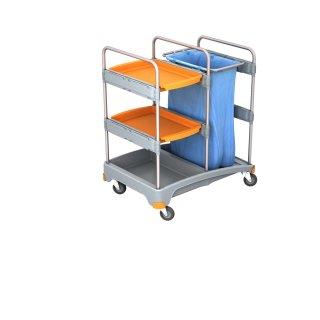 CleanSV® Reinigung®swagen Abfallwagen mit 2 Ablagen aus PE, 3 Ablagen, 57,5 cm x 64cm x 112 cm