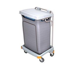 CleanSV Reinigungswagen Abfallwagen aus PE, Müllsackhalter mit Verkleidung und Deckel, 57,5 cm x 64cm x 100 cm