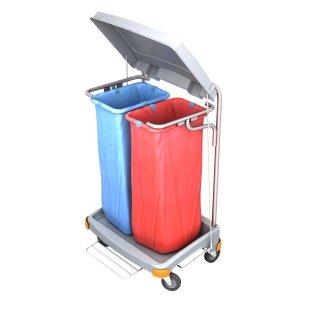 CleanSV® Reinigungswagen Abfallwagen, Müllsackhalter 2 x 70 Liter Mülltrennung mit Pedal, Größe 69 cm x 55 cm x 100 cm