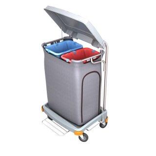 CleanSV® Reinigungswagen Abfallwagen mit Seitenverkleidung, Müllsackhalter 2 x 70 Liter Mülltrennung mit Pedal, Größe 69 cm x 55 cm x 100 cm
