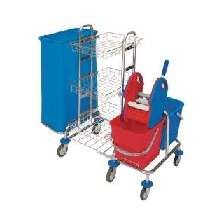 CleanSV® Reinigungswagen SpMid3 chrom  mit Müllsackhalter, 3 Ablagen chrom, Presse, 2 x 20 Liter Eimer, 6 Räder, Gr. 121 x 68 x 105 cm
