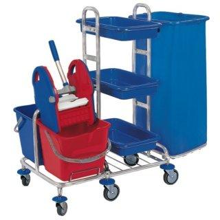 CleanSV® Reinigungswagen SpMin3 chrom  mit Müllsackhalter, 3 Ablagen PE, Presse, 2 x 20 Liter Eimer, 6 Räder, Gr. 103 x 680 x 106 cm