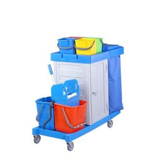 CleanSV® BAY Servicewagen Schrank mit Schlüssel  PE, Reinigungswagenmit  2 x 16 Liter Eimer Abfallsammler Mülltrennung, 4 x 6 L. Eimer, Moppresse