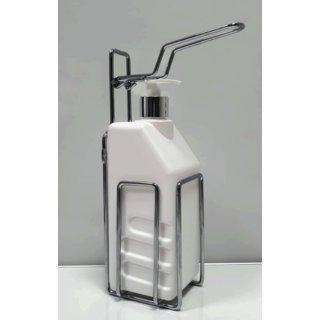 CleanSV® Desinfektionsspender aus verchromten Metall mit 1000 ml Flasche und langem Arm, zum hinstellen oder aufhängen
