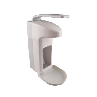 CleanSV Profi Desinfektionmittelspender Seifenspender LH 1000 ml  Kunststoff mit Leerflasche und Abtropfschale, Mengenabgabe einstellbar, Pumpe austauschbar