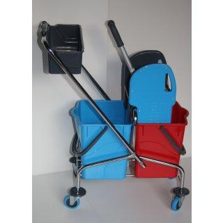CleanSV® Reingungswagen chrom, Ablage, Reinigungswagen 2 x 18 Liter Eimer, Presse, Deichsel plus Ablagekorb