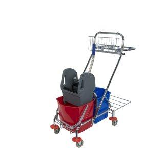 CleanSV® Reinigungswagen chrom Dofa 20 Plus Müllsackhalter, Deichselkorb, Putzwagen mit Moppresse und  2 Eimer ca. 18 Liter