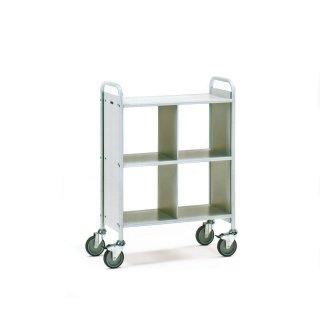 CleanSV® Bürowagen, (B)810 x (T)385 mm, mit Trennwand, 4 Fäche mit Trennwand Pulverbeschichtet