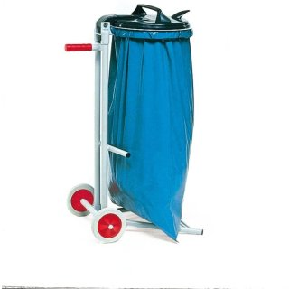CleanSV Müllsackständer, Stahlrohrkonstruktion, fahrbar, PVC-Deckel und Klemmring