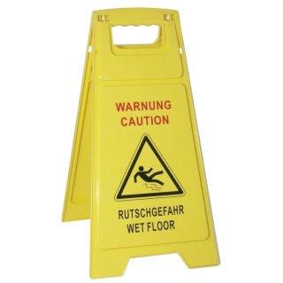 """CleanSV Hinweisschild """"Achtung Rutschgefahr - Caution Wet Floor"""" Warnschild Aufsteller gelb Kunststoff"""