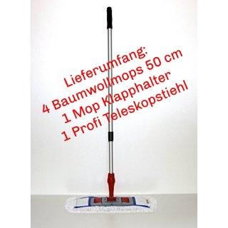 CleanSV MopSet 6 teilig 50 cm  4 x CleanSV® Baumwollmop + Klapphalter und Profi Teleskopstiehl