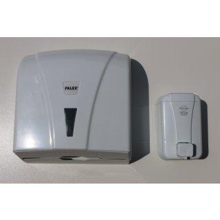 CleanSV® SPENDERSET SEIFENSPENDER 500 ml weiss & HANDTUCHSPENDER Katli  WEISS