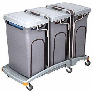 CleanSV® Dreifacher Müllentsorgungswagen 3 x 120l mit Abdeckung - Variante mit Deckel