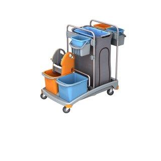 CleanSV® Putzwagen aus PE inkl. Beutelhalter 120 l, Reinigungswagen mit 5 Eimern und Moppresse