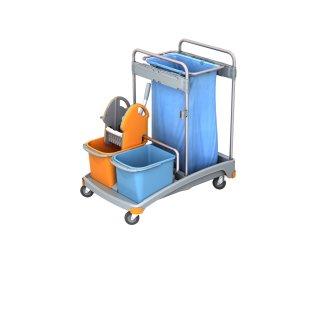 CleanSV®  Reinigungswagen Kunststoff, mit Moppresse, Abfallsackhalter, 2 Eimern 20 Liter