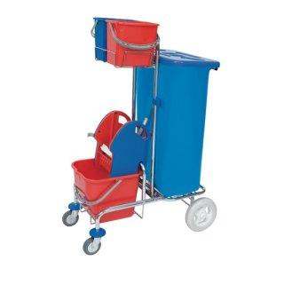 CleanSV  verchromter Putzwagen mit Müllsackhalter inkl. Deckel 120l, Moppresse, 1 x 20 L. Eimer und 2  6 L. Eimer