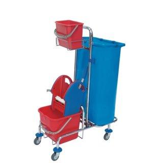 CleanSV® verchromter Putzwagen mit Moppresse, Reinigungswagen mit Beutelhalter 120l und Plastikeimern, Variante:mit  1 x 6 l Eimer