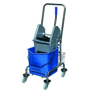 CleanSV Einfachfahreimer / Putzwagen 17 Liter mit Metallrahmen und Ablagekörbchen und Moppresse